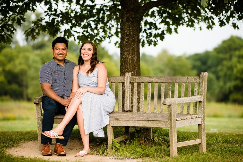 The classic couple on a park bench portrait.
