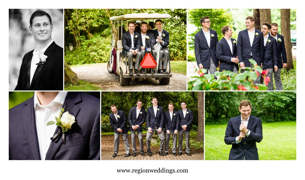 Groom and groomsmen arrive at Friendship Botanical Gardens.