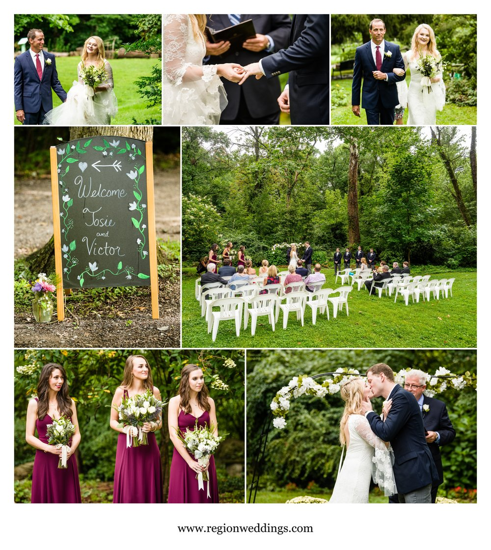Outdoor garden wedding ceremony.