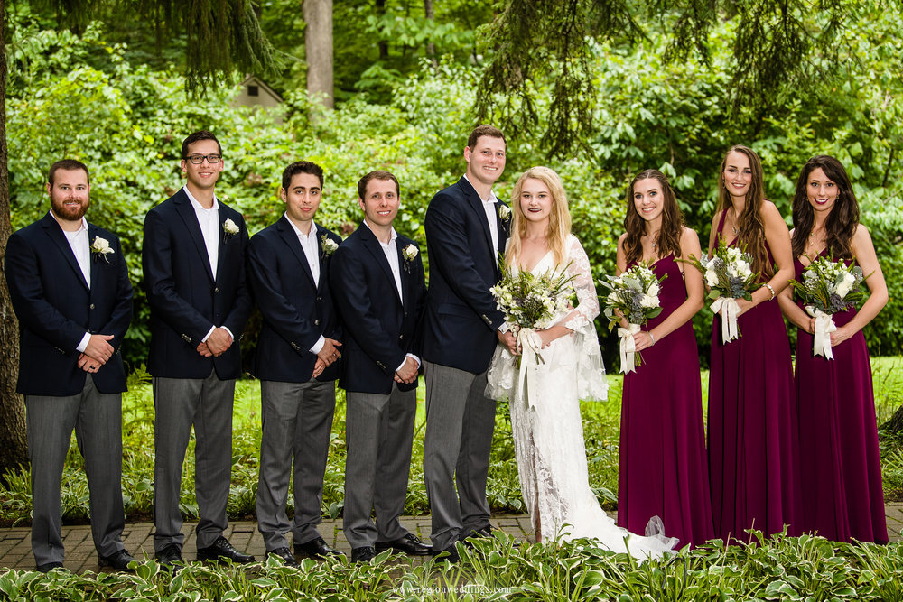 Wedding party group photo at Friendship Botanical Garden.