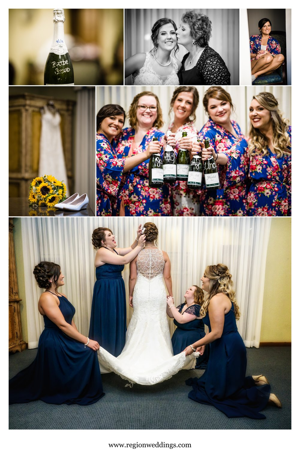 The bridesmaids tend to the bride at Briar Ridge.