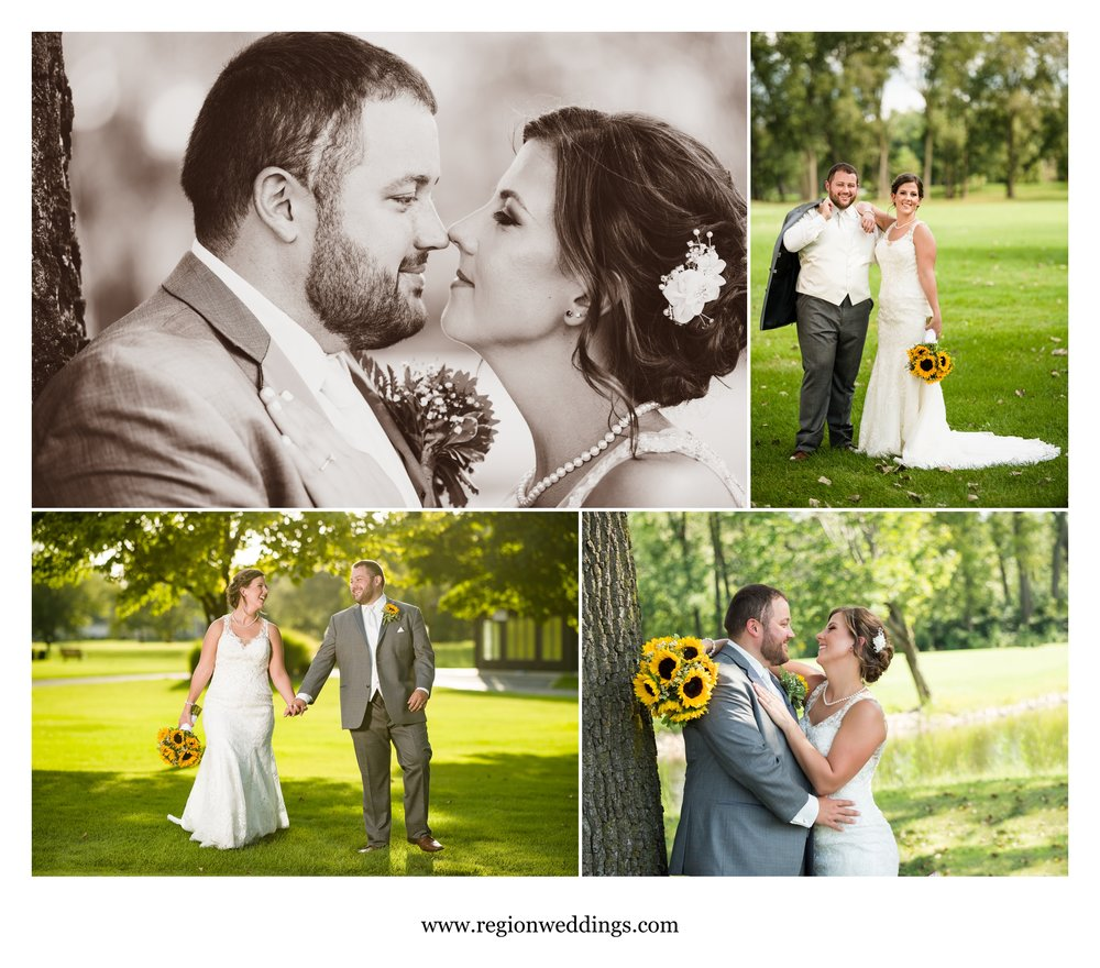 Bride and groom photos on the golf course at Briar Ridge Country Club.