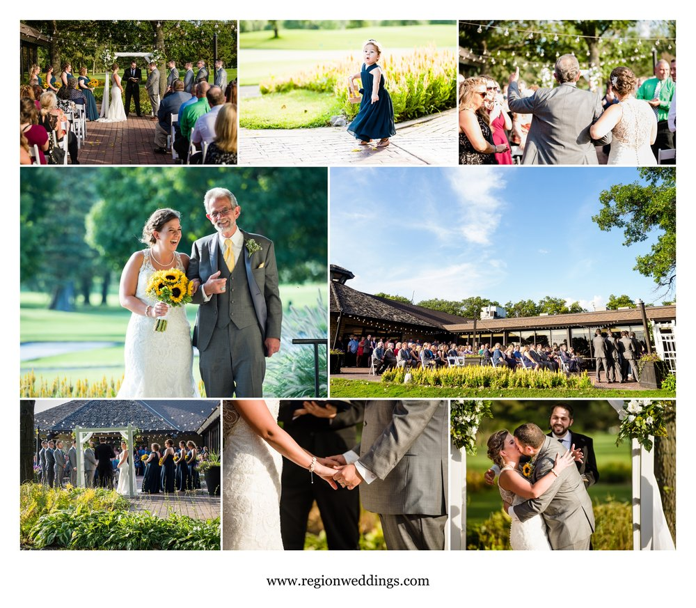 Outdoor wedding on the patio at Briar Ridge Country Club.