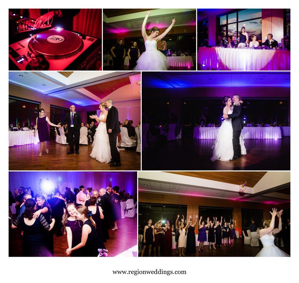 Dance floor fun at Centennial Park during a wedding reception.