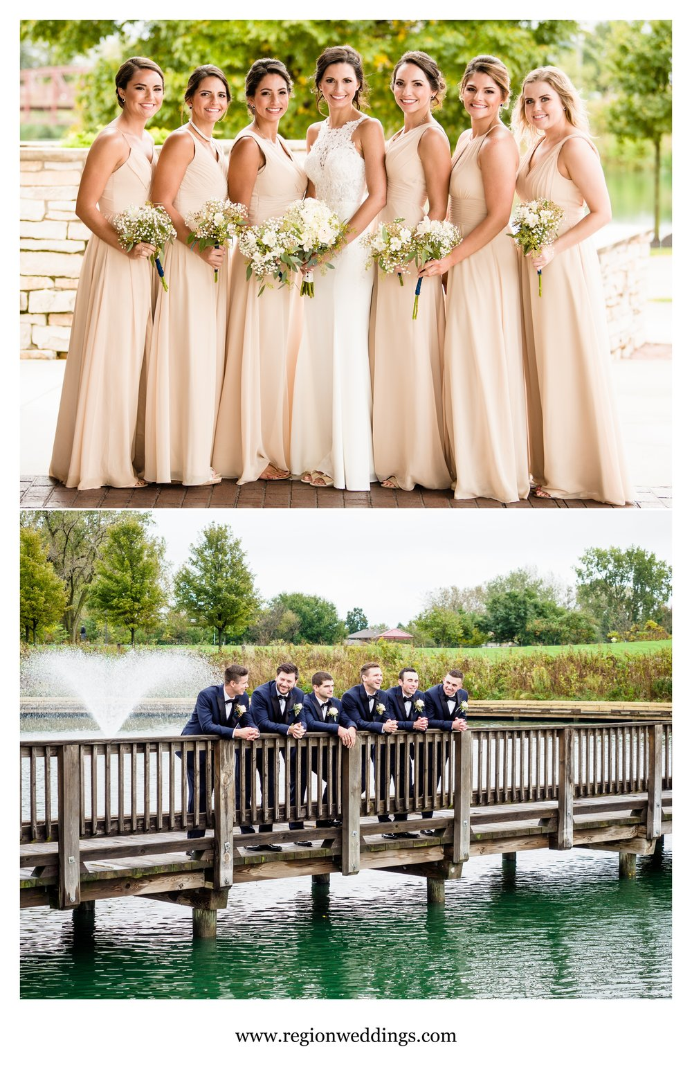 Bridesmaids and groomsmen at Centennial Park in Munster, Indiana.
