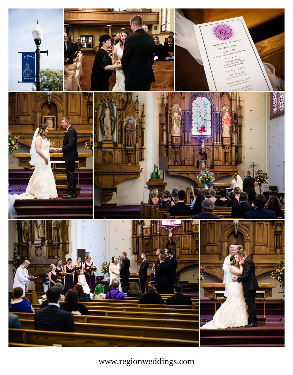 Catholic wedding ceremony at St. Mary in Crown Point, Indiana.