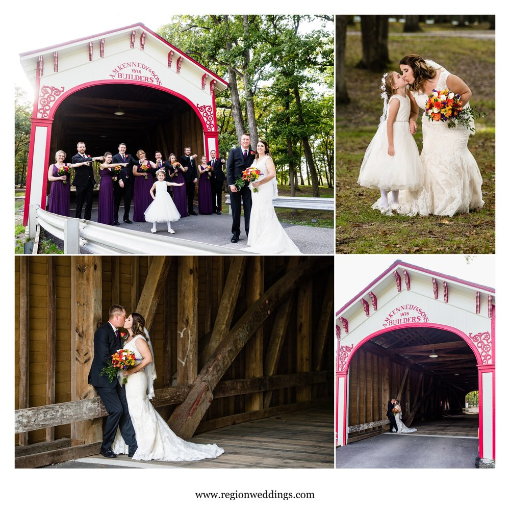 Wedding photos near the old covered bridge at Lake County Fairgrounds.