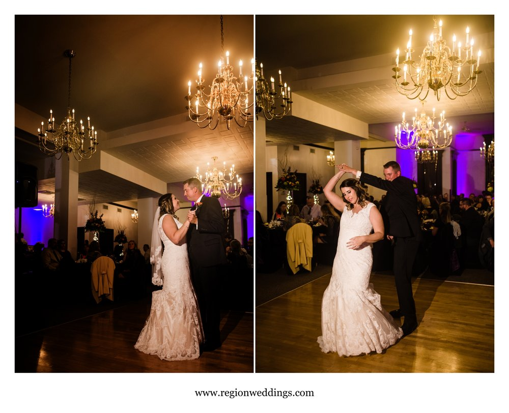First dance inside the Maki Ballroom at the Old Crown Point Courthouse.