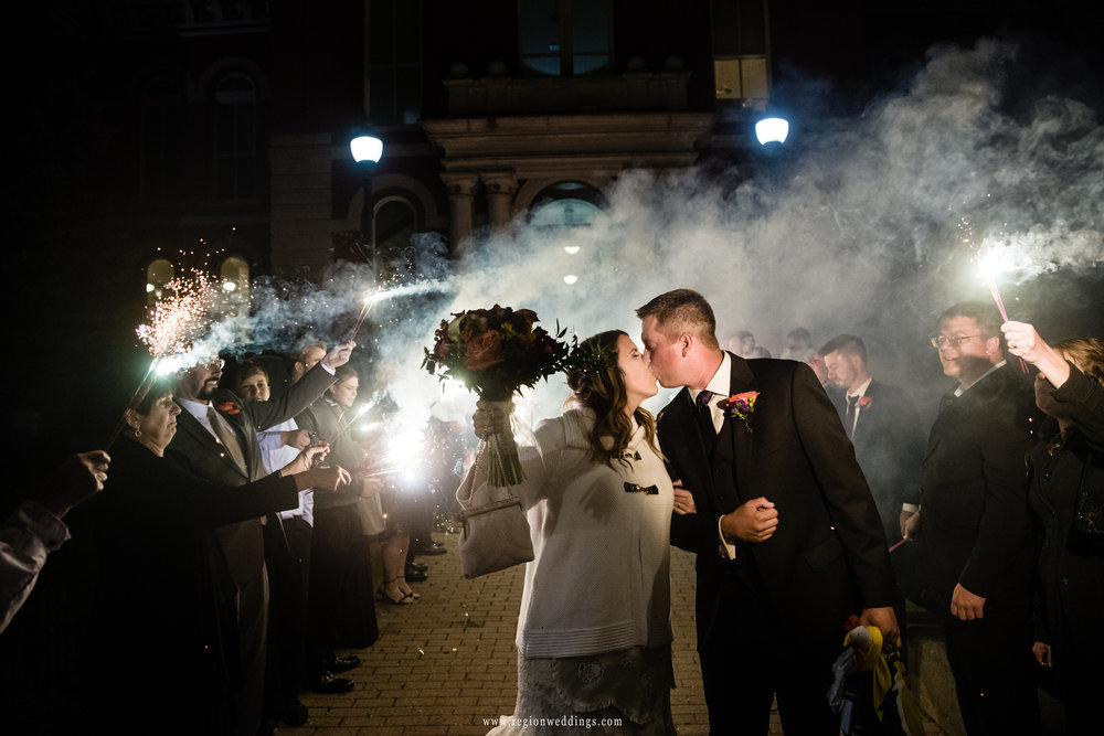 Sparkler kiss in downtown Crown Point, Indiana.