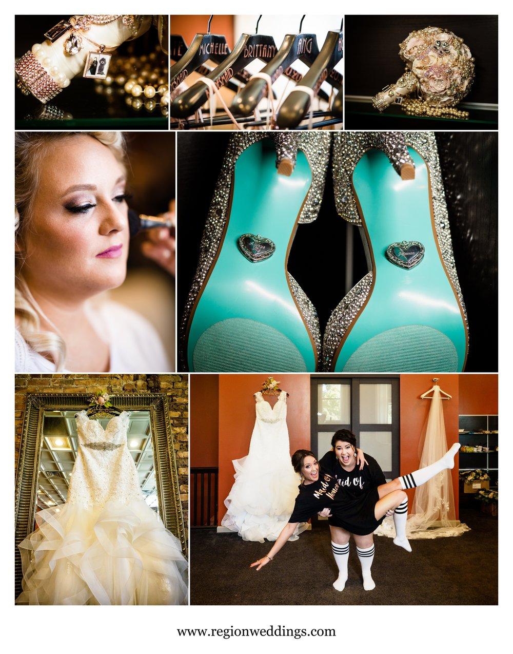 Bridal prep at The Allure in Laporte, Indiana.