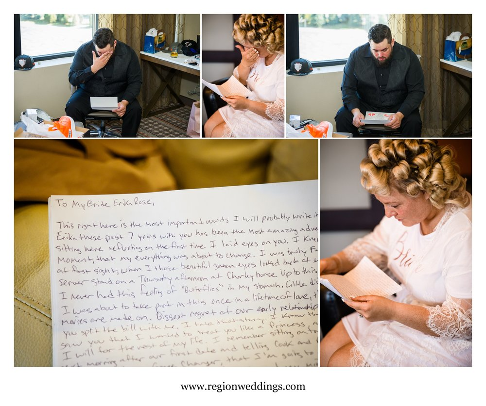 The bride and groom read each other's letters on wedding day.