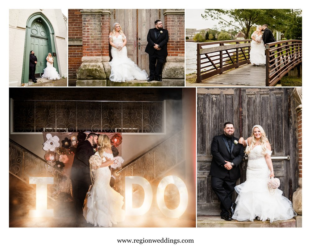 Wedding photos in downtown Laporte, Indiana.