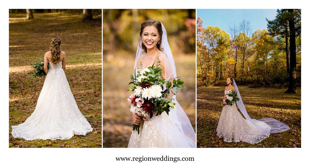 The beautiful bride among the Autumn leaves at Kreuger Memorial Park in Michigan City.