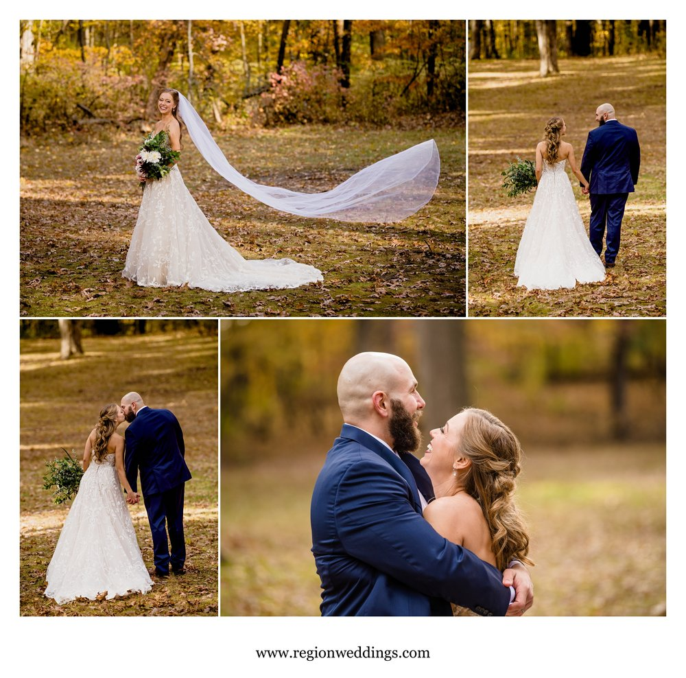 Fall wedding photos in Michigan City, Indiana.