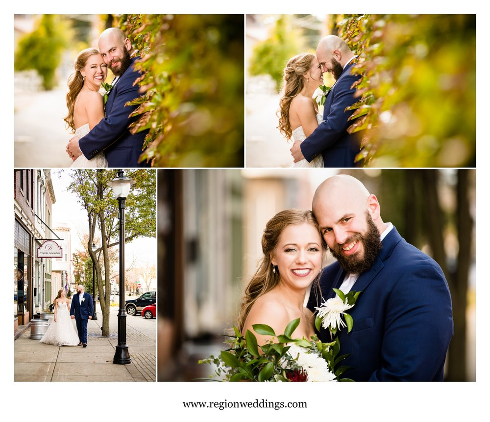 Wedding photos in downtown Michigan City.