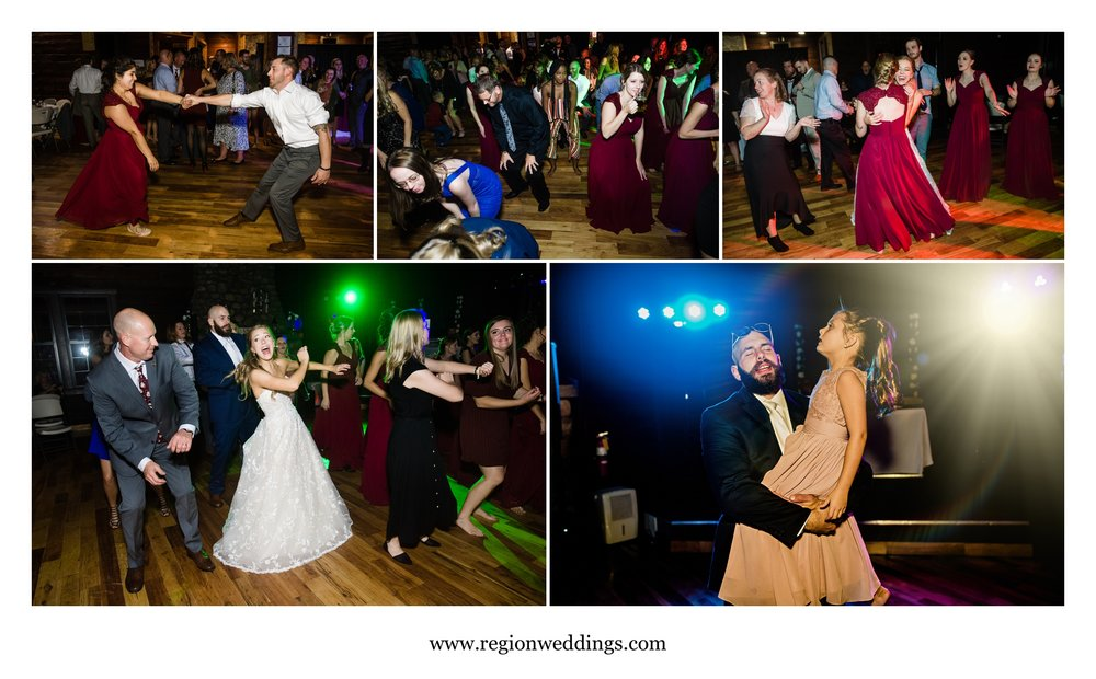 A packed wedding reception dance floor at Kreuger Memorial Hall in Michigan City.