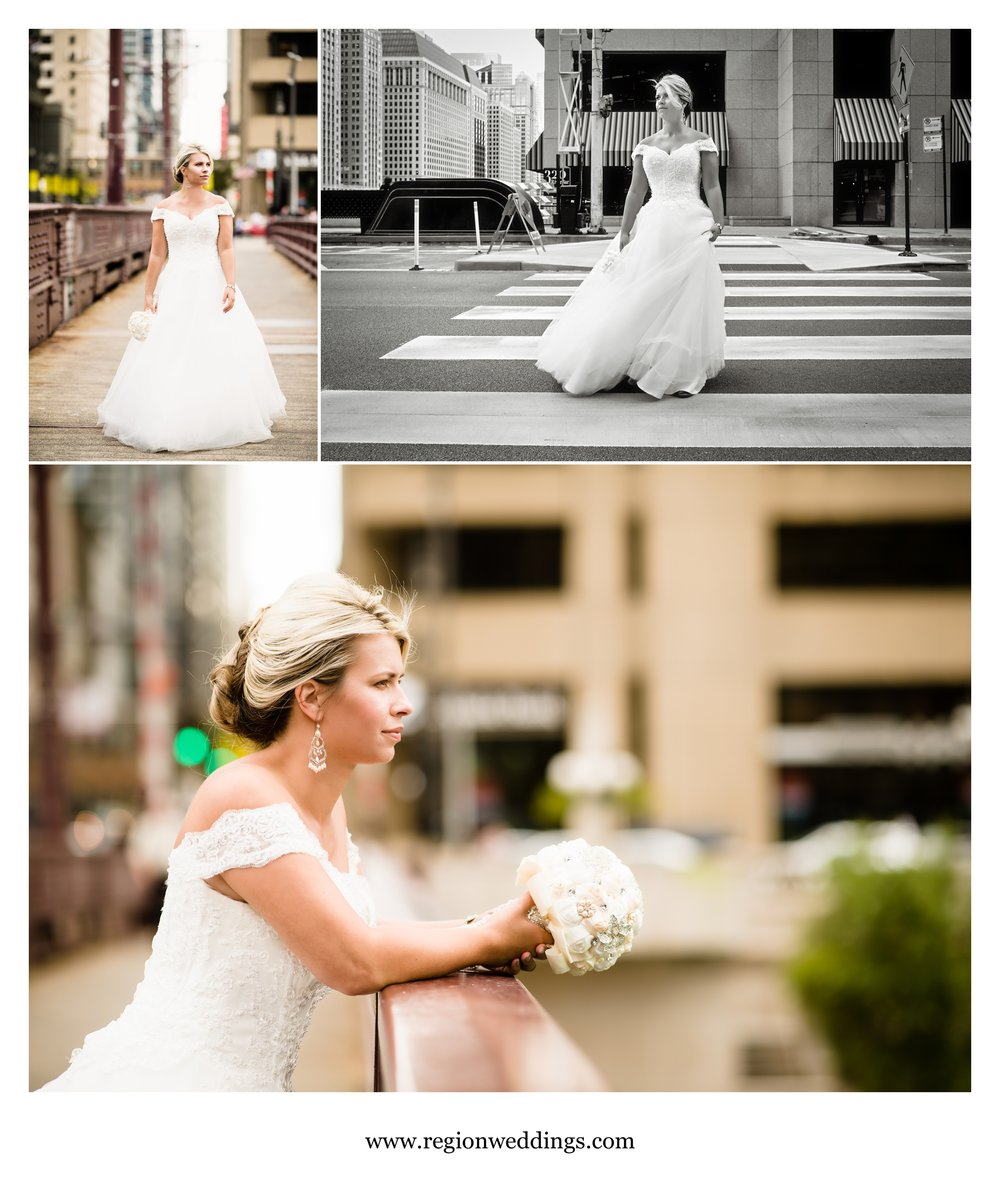 A bride walks alone on the streets of downtown Chicago during a bridal portrait session.