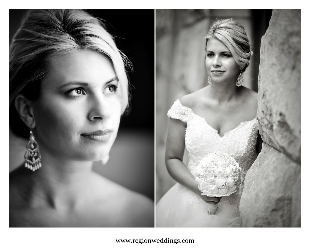 Black and white portraits of a bride in Chicago, Illinois.