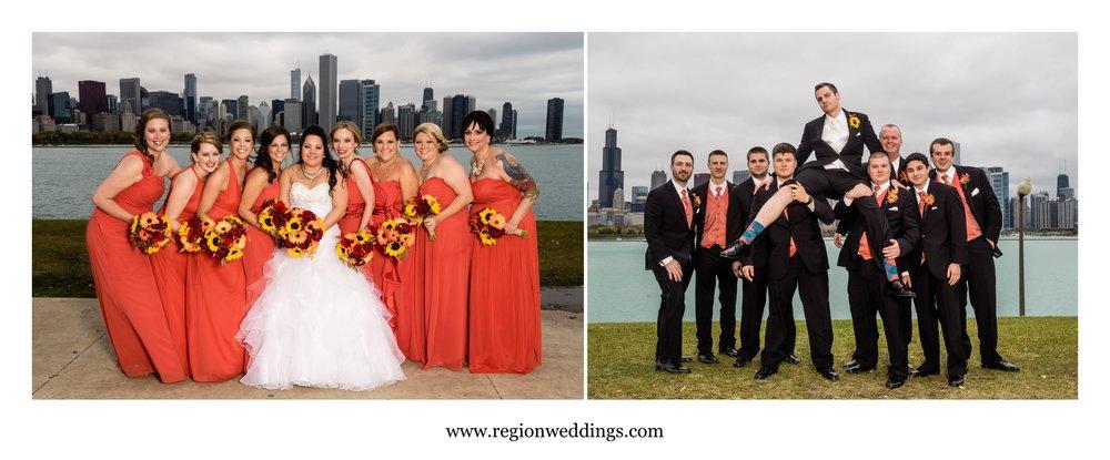 Bridesmaids and groomsmen off Lake Michigan in Chicago.