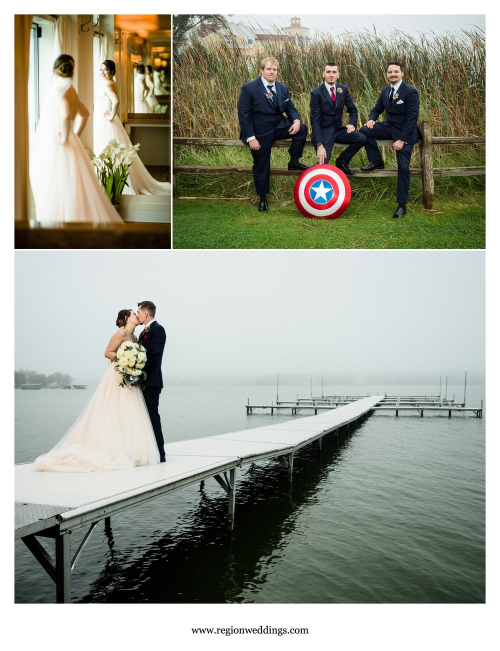 Captain America marries SpiderWoman at Lighthouse Restaurant in Cedar Lake.