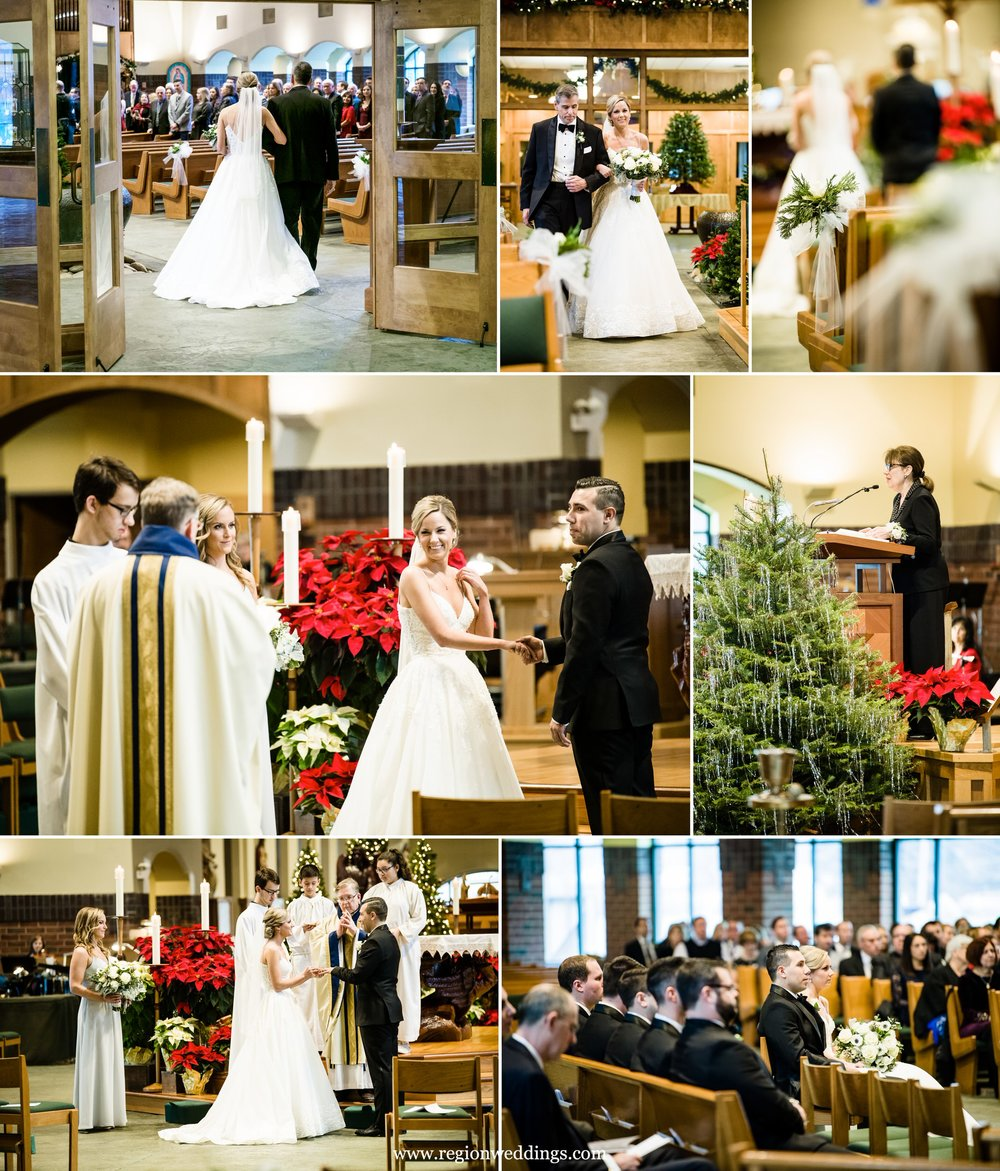 Winter wedding ceremony at St. Michael's Parish in Schererville, Indiana.