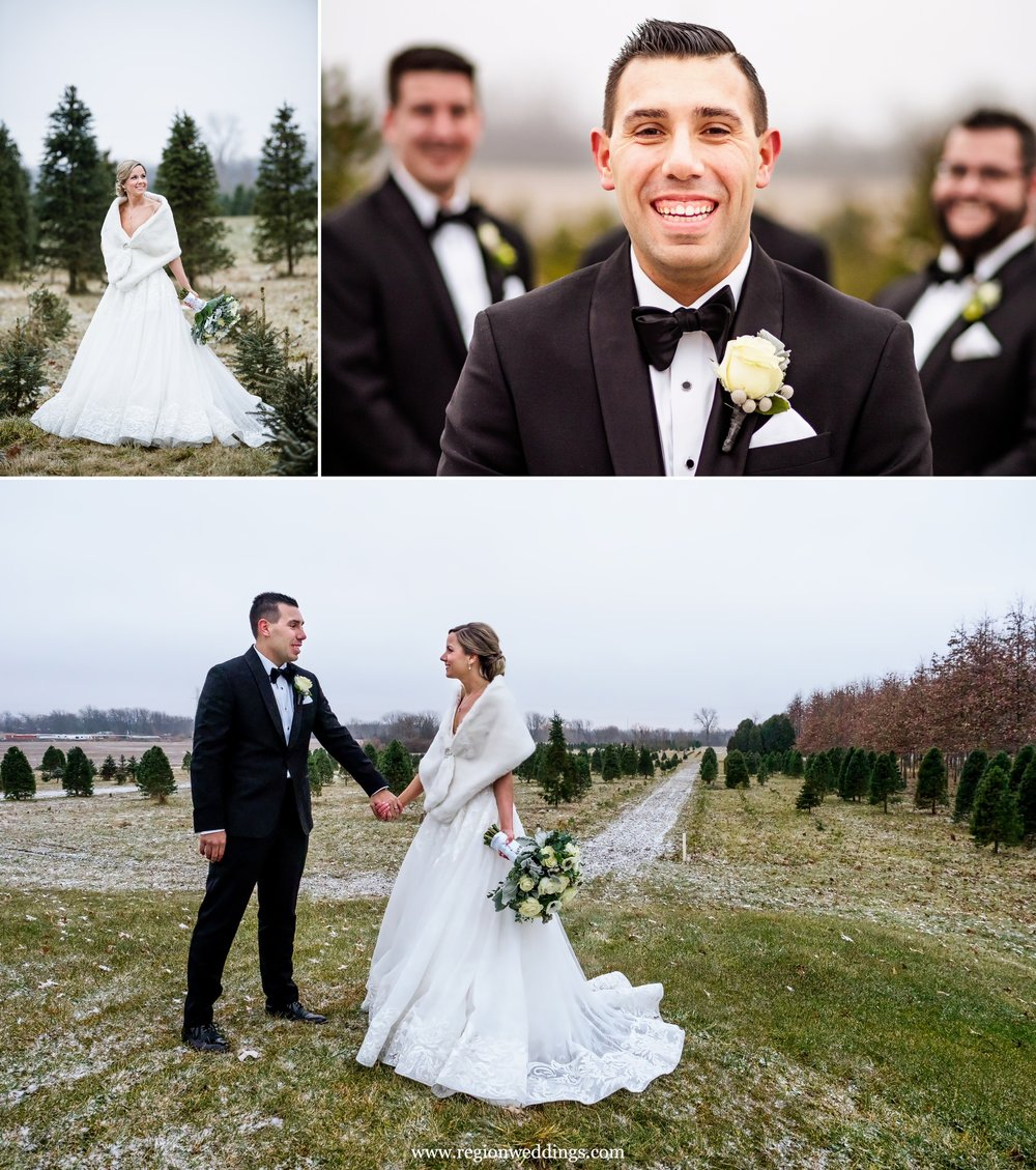 Winter wedding photos at Kapitan Nursery tree farm.