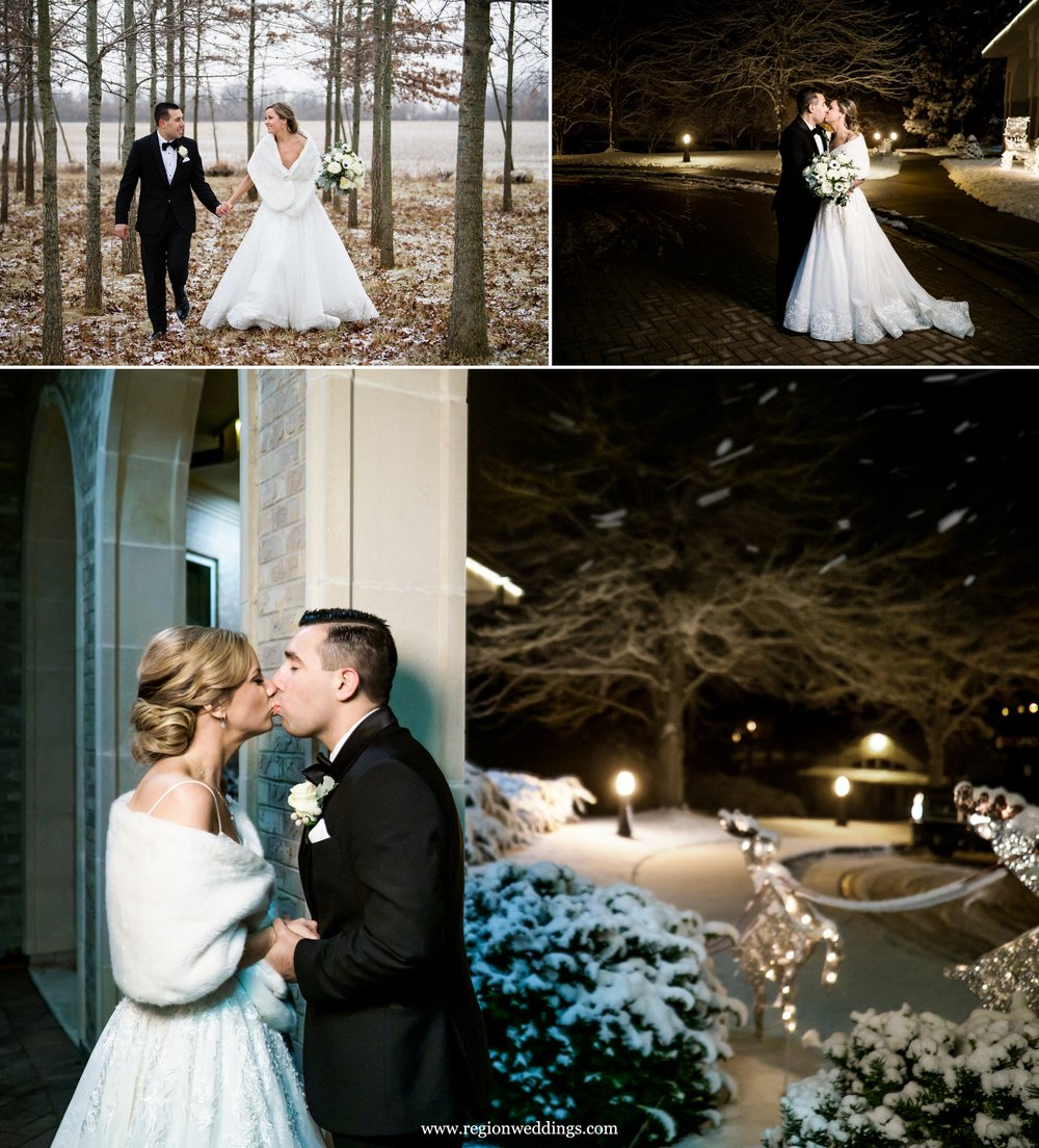 Outdoor winter wedding photos at Sand Creek Country Club.