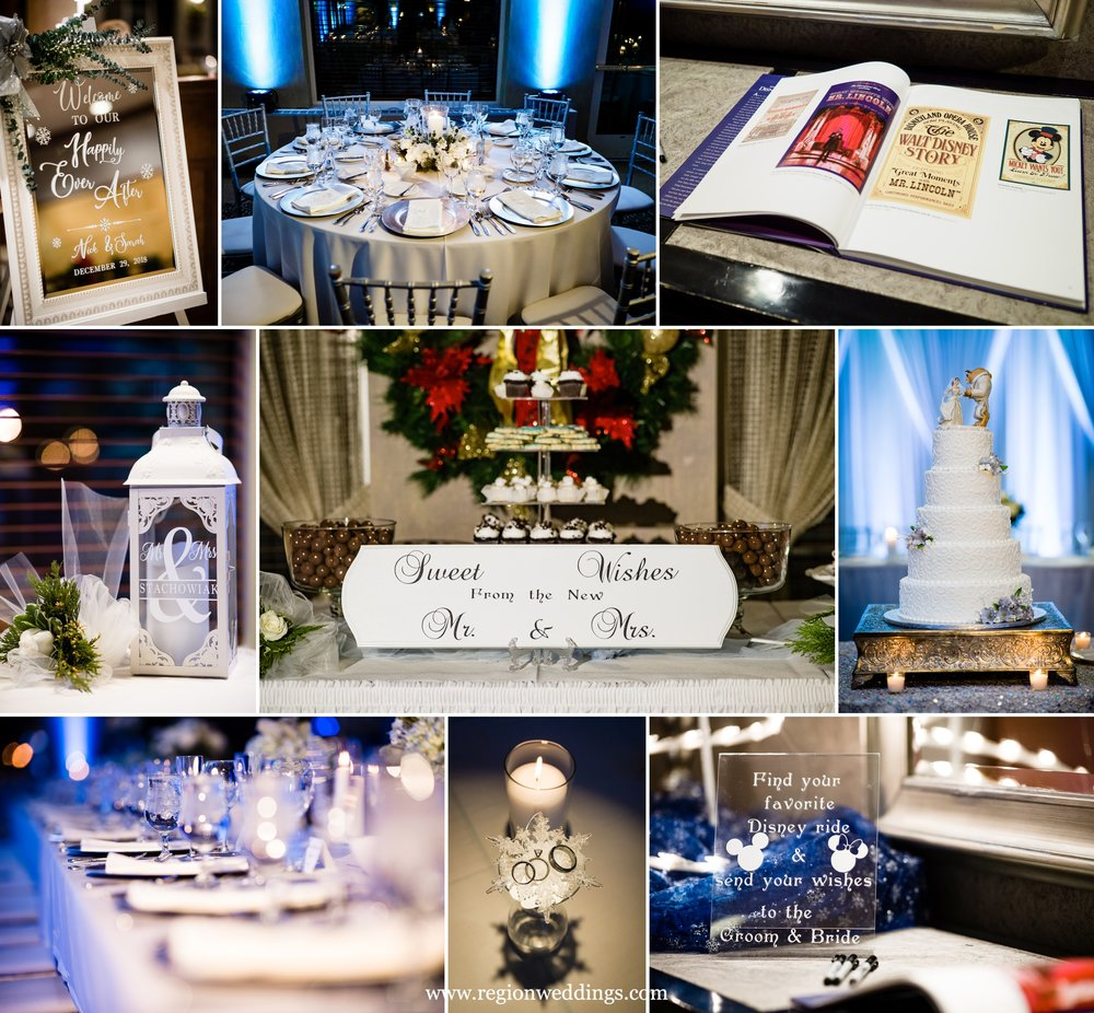 Disney and winter themed wedding decorations.