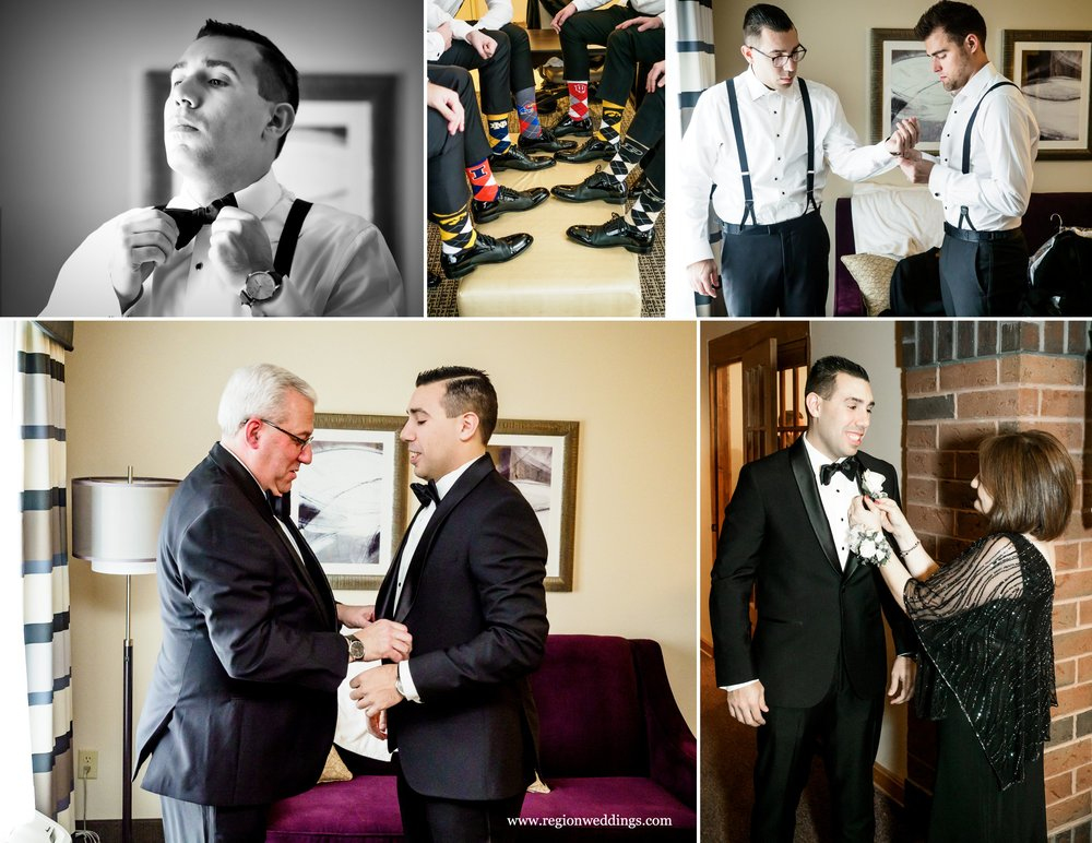 Groomsmen prep for a December wedding.