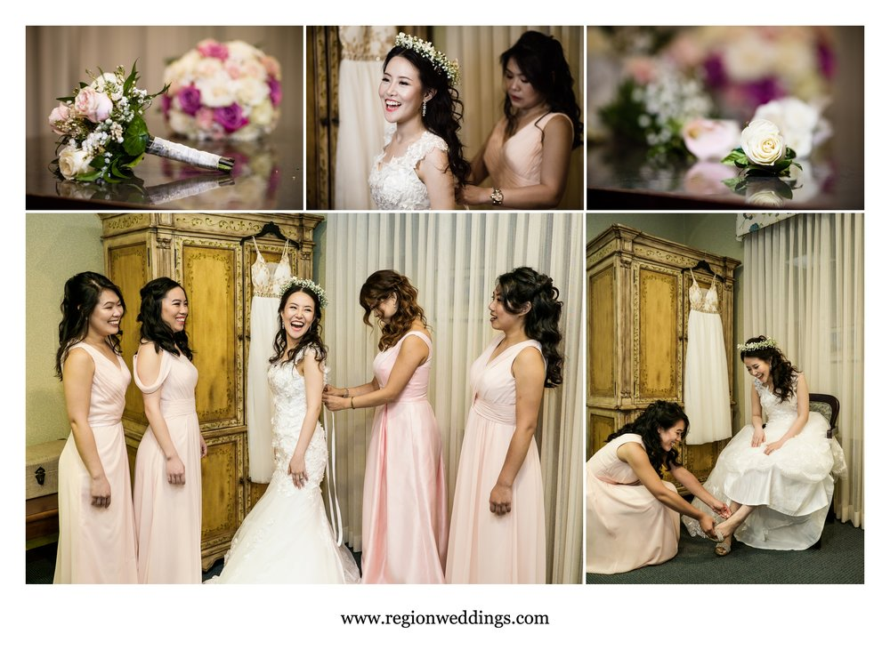 The bridesmaids assist the bride on her big day.