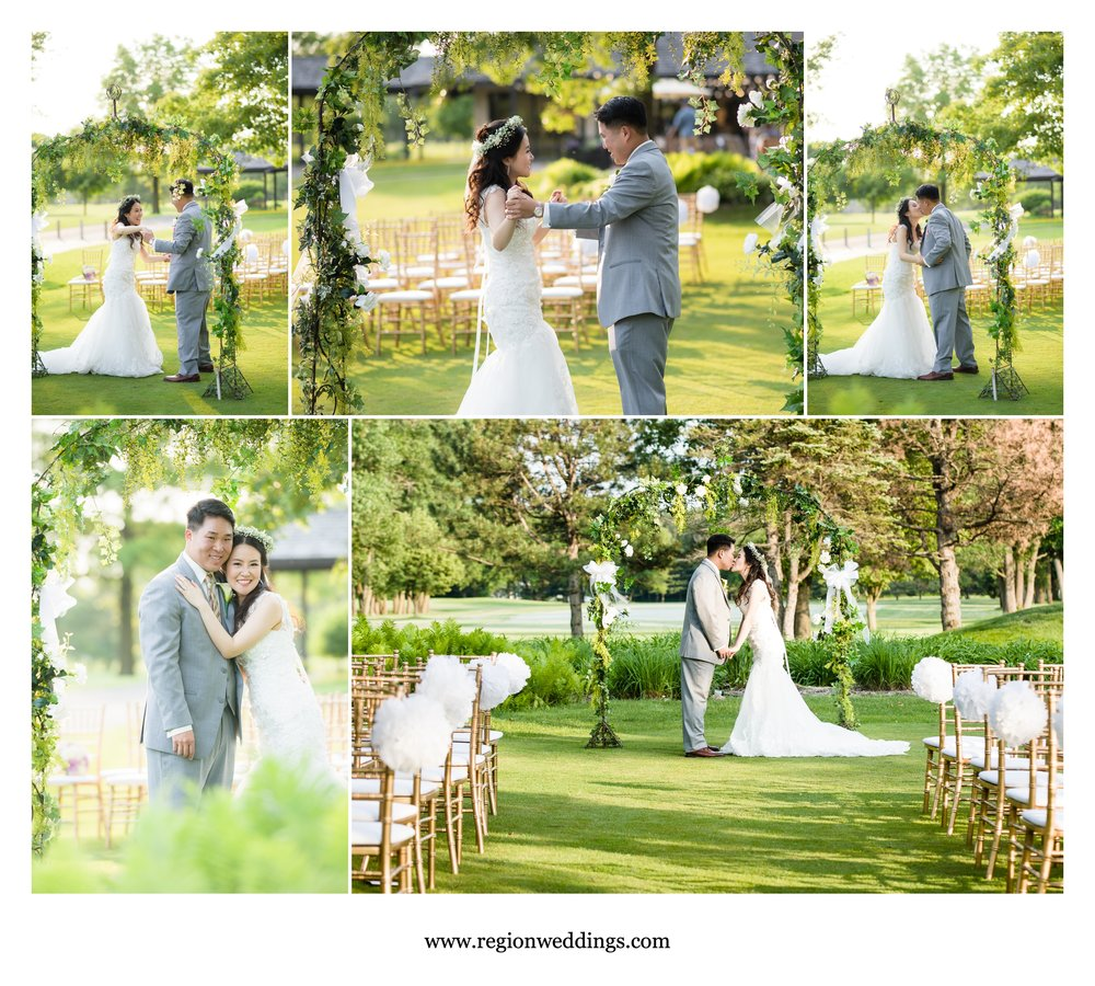 Golden hour dance for the bride and groom in their ceremony are at Briar Ridge golf course.