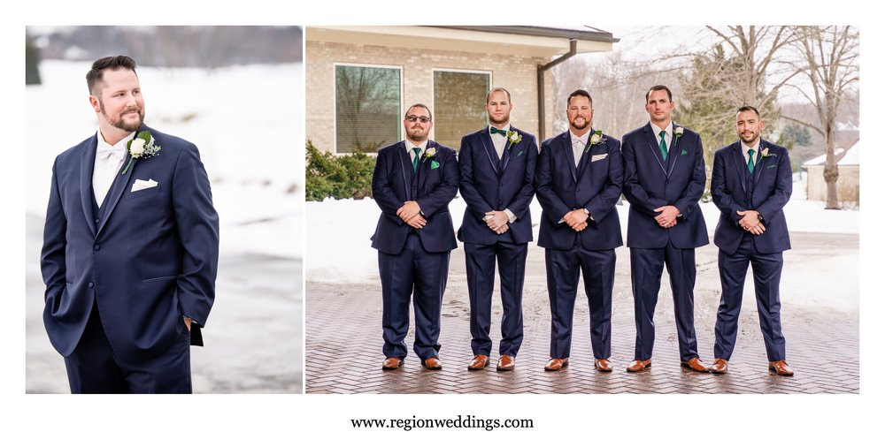 Groomsmen portraits outside in the winter snow.