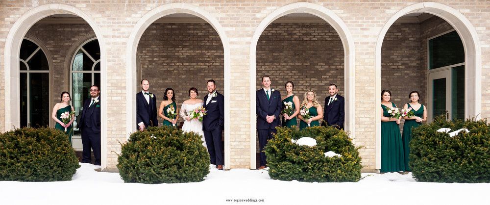 Bridal party winter wedding photo.