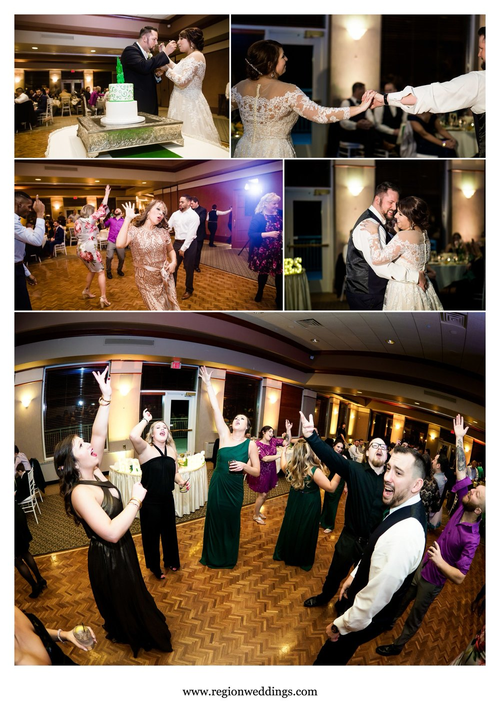Winter wedding reception at Sand Creek golf course.
