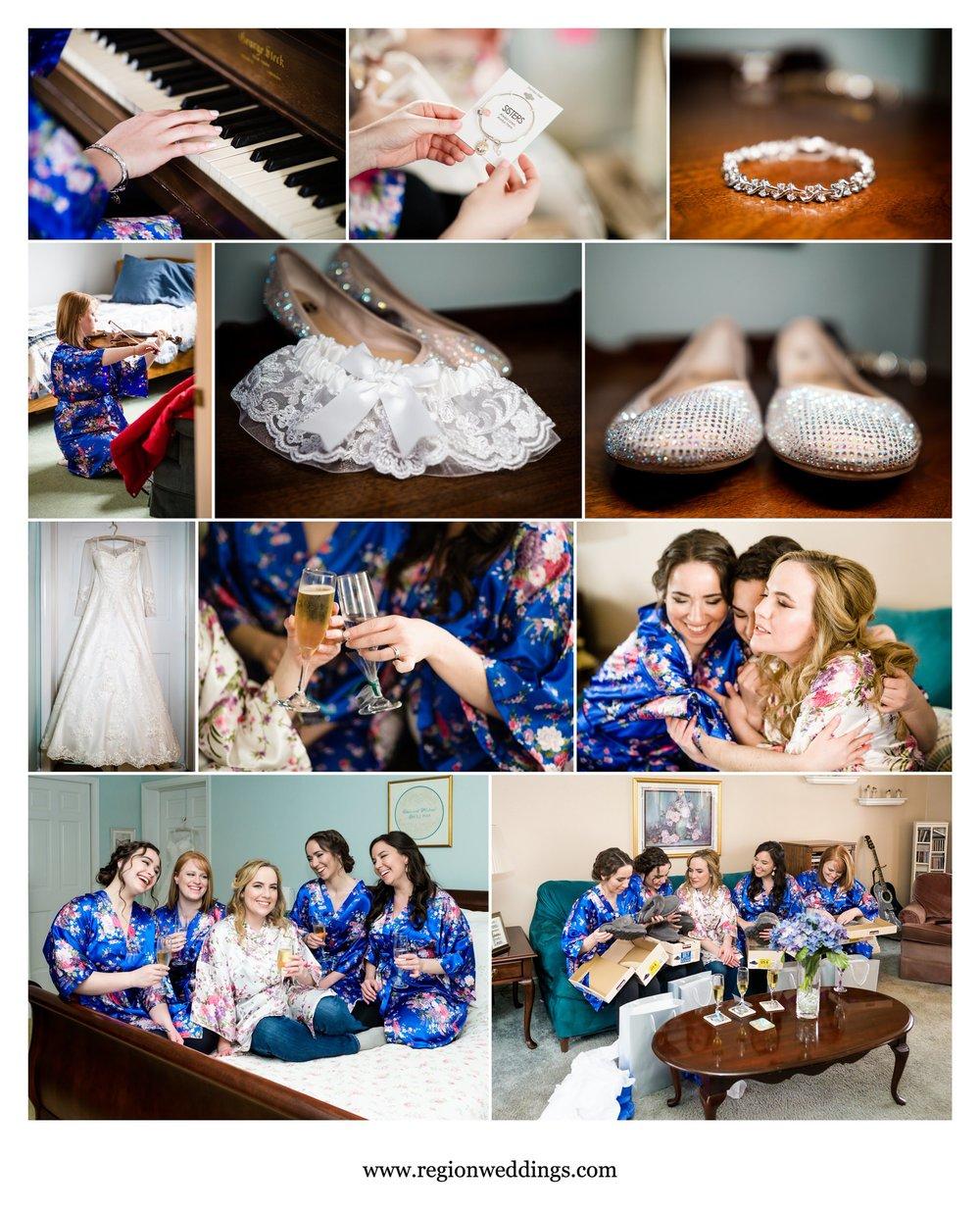 Bridal prep for a winter wedding.