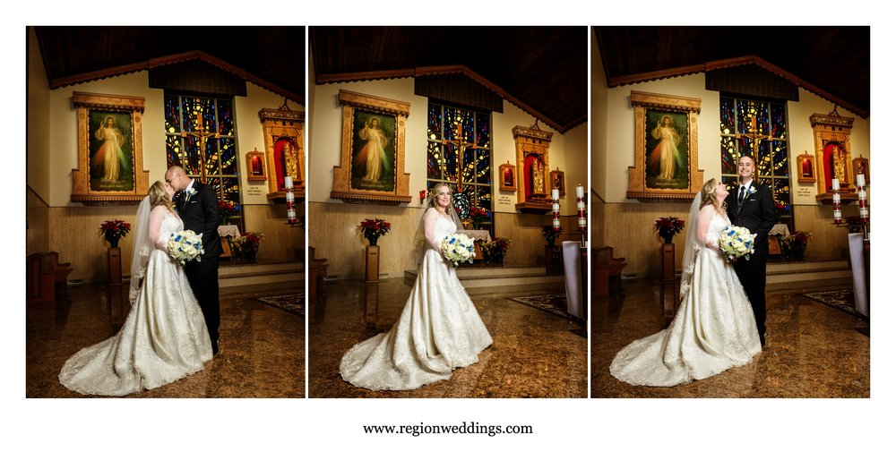 Bride and groom on the altar of Carmelite Fathers.