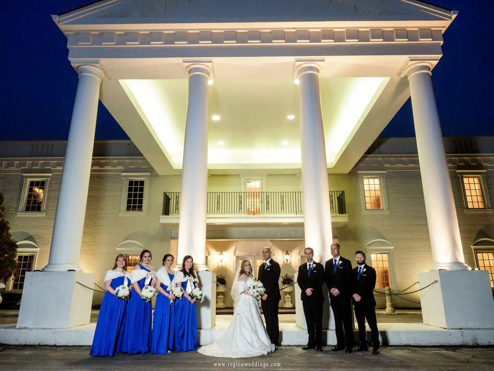 Wedding party group photo in front of Chateau Bu-Sché in Alsip, Illinois.