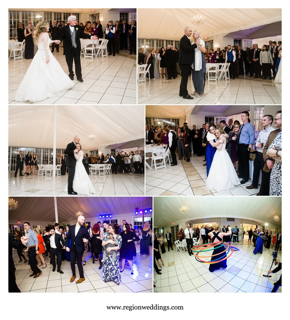 Parent dances and hula hoops during a wedding reception in Alsip, Illinois.