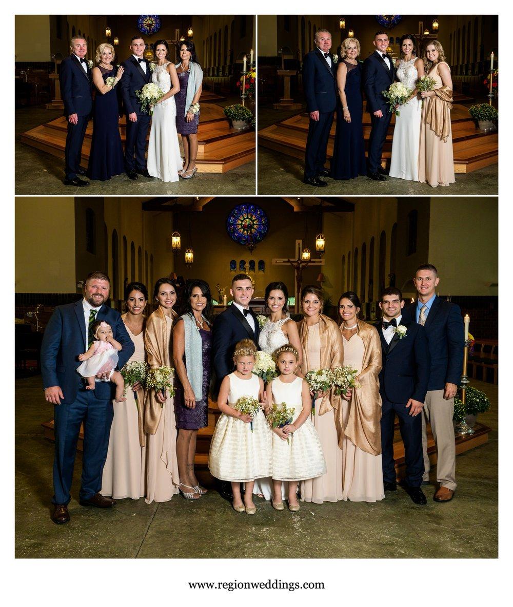 Family photos at St. Michael's Parish on wedding day.