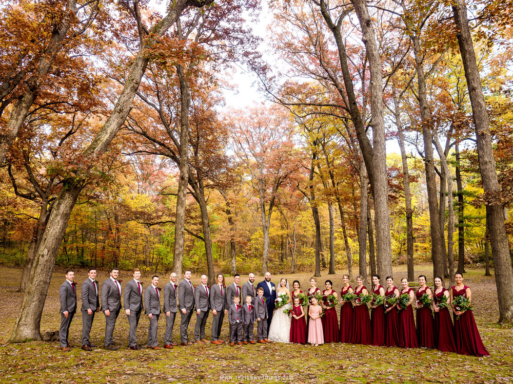 Fall wedding party group photo.