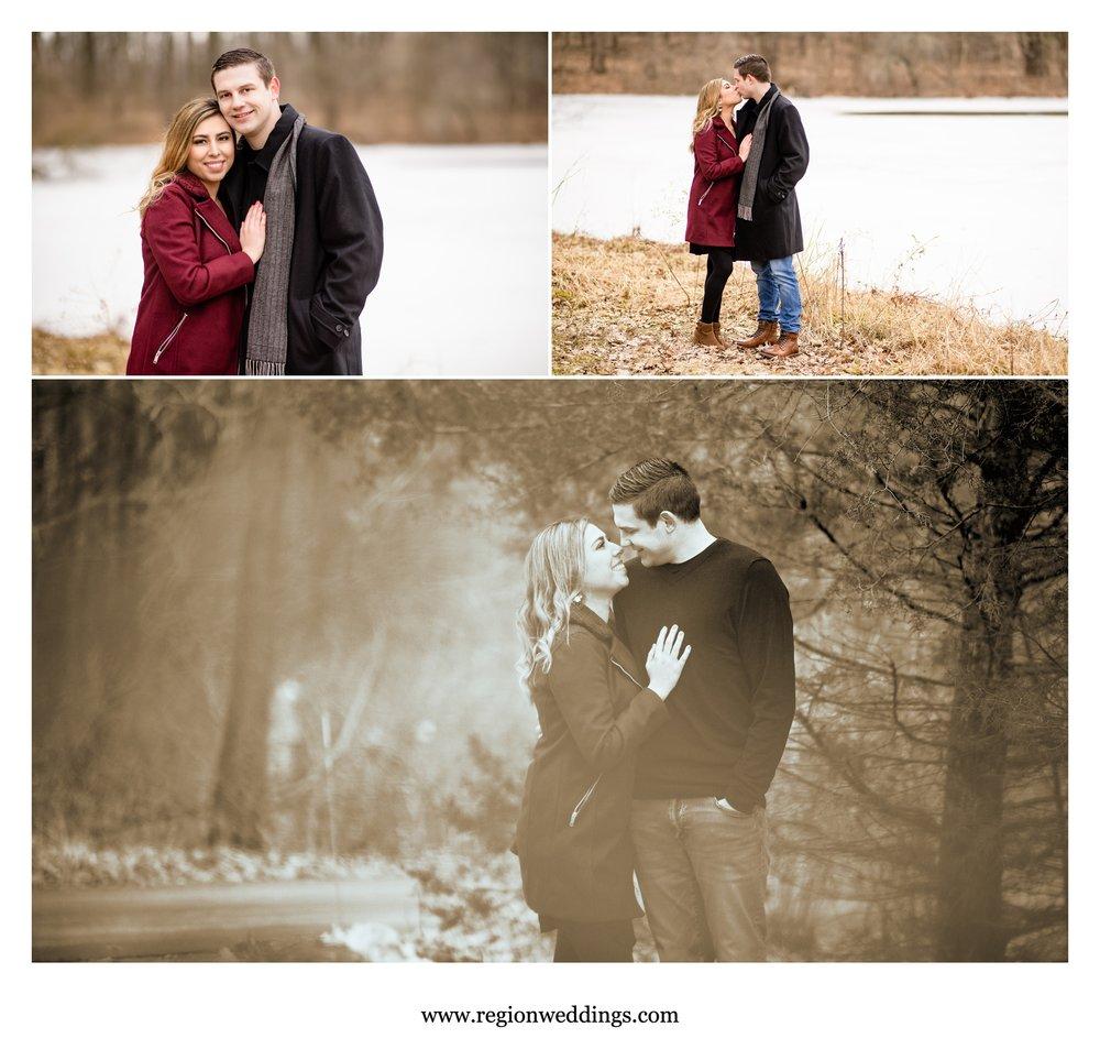 Romantic engagement photos taken in winter.