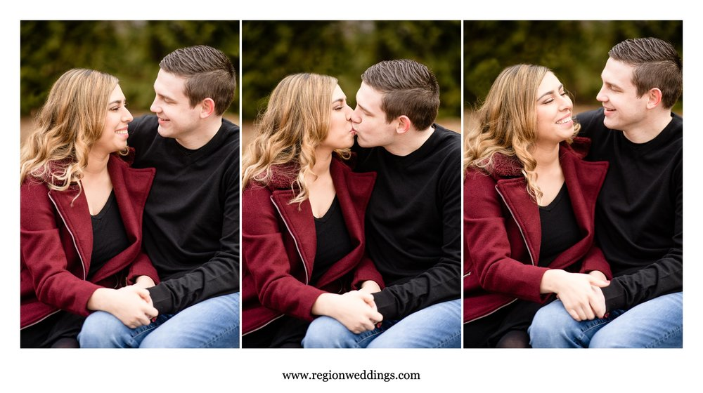 Candid moments during a winter engagement session in Northwest Indiana.