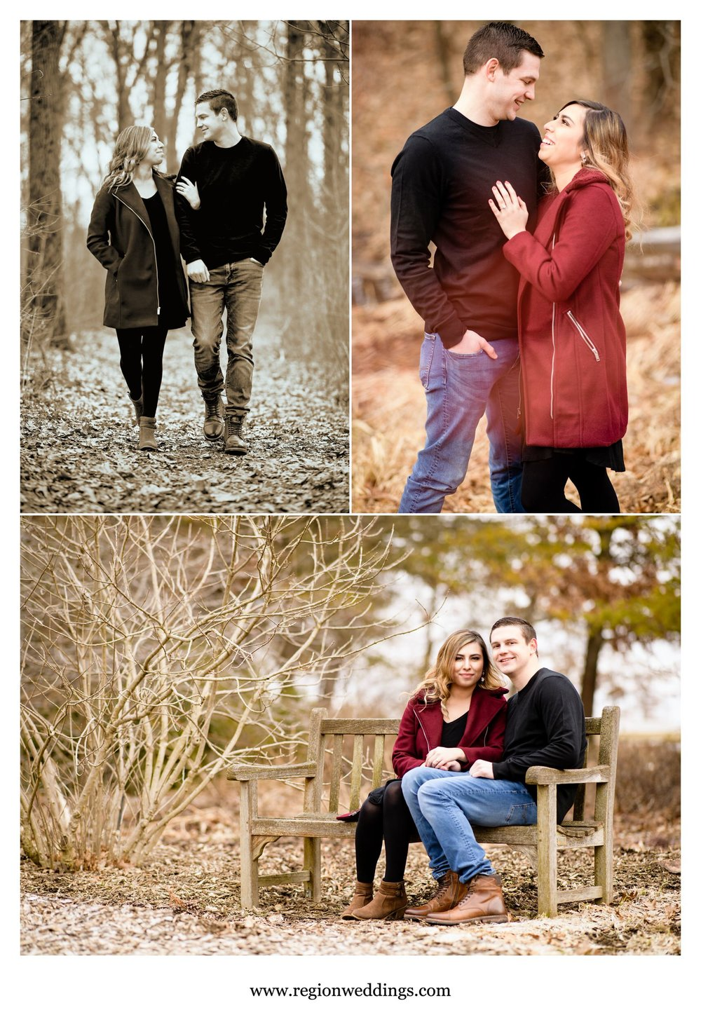A young couple in love during their winter engagement photo session.