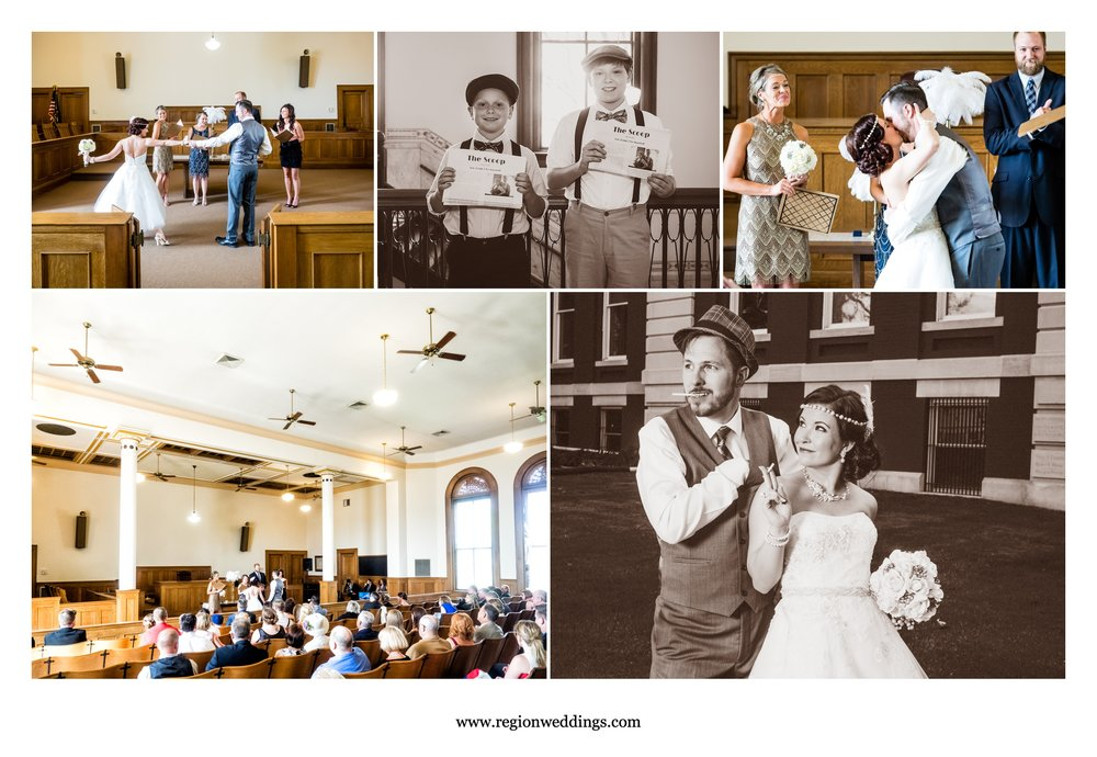 A 1920's themed wedding at the Old Crown Point Courthouse.