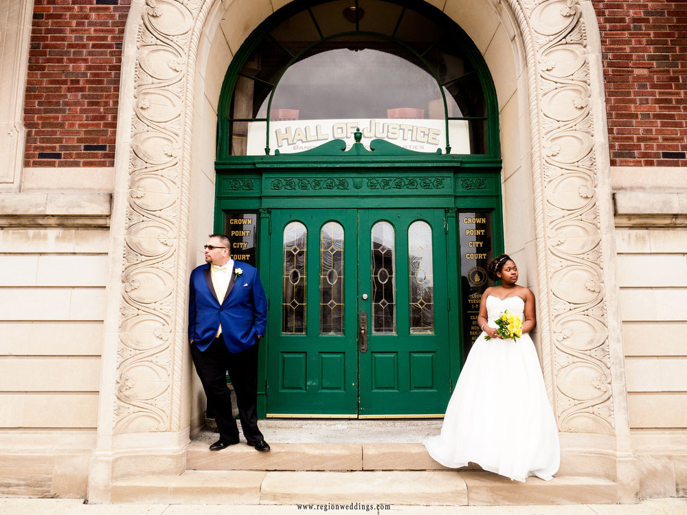 Bride and groom outside the Hall of Justice in downtown Crown Point, Indiana.