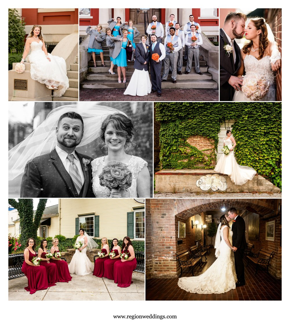 Wedding photos in downtown Crown Point, Indiana.