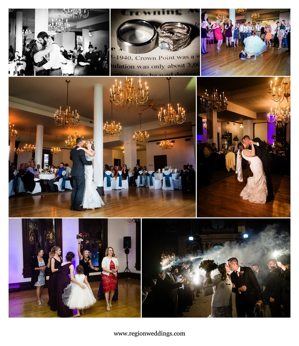 Wedding receptions at Maki Ballroom in downtown Crown Point, Indiana.