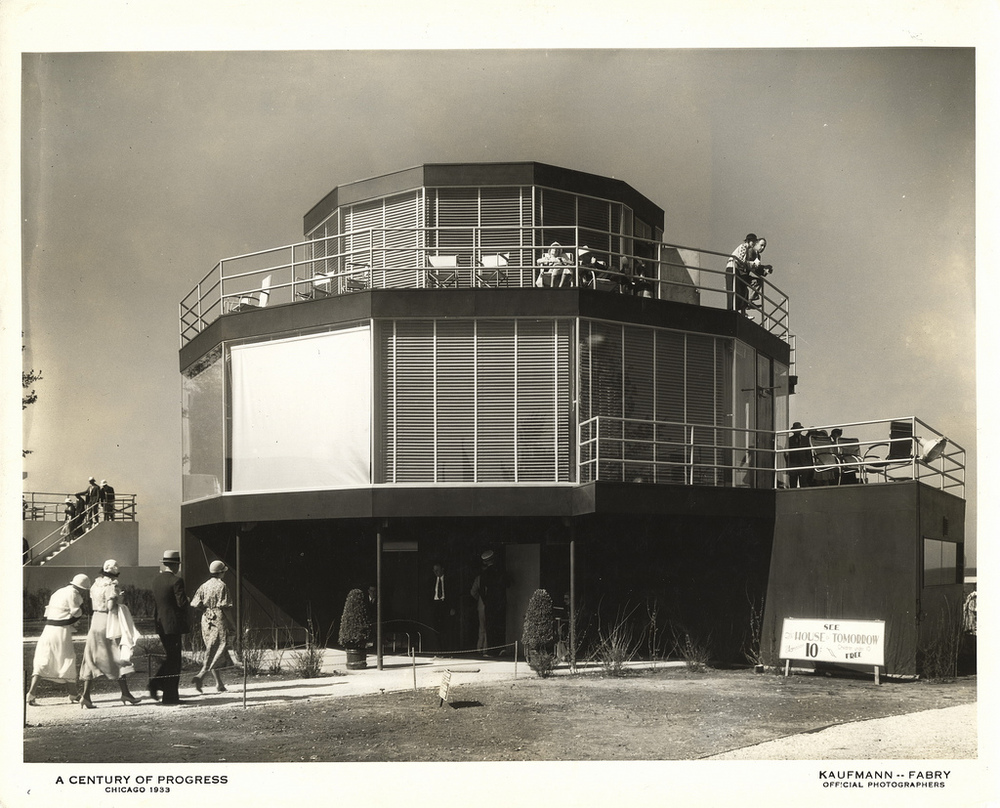 House of Tomorrow by George Fred Keck (1933) Photo by Kaufmann & Fabry Co. from University of Illinois at Chicago Library http://www.flickr.com/photos/uicdigital/4387523202/