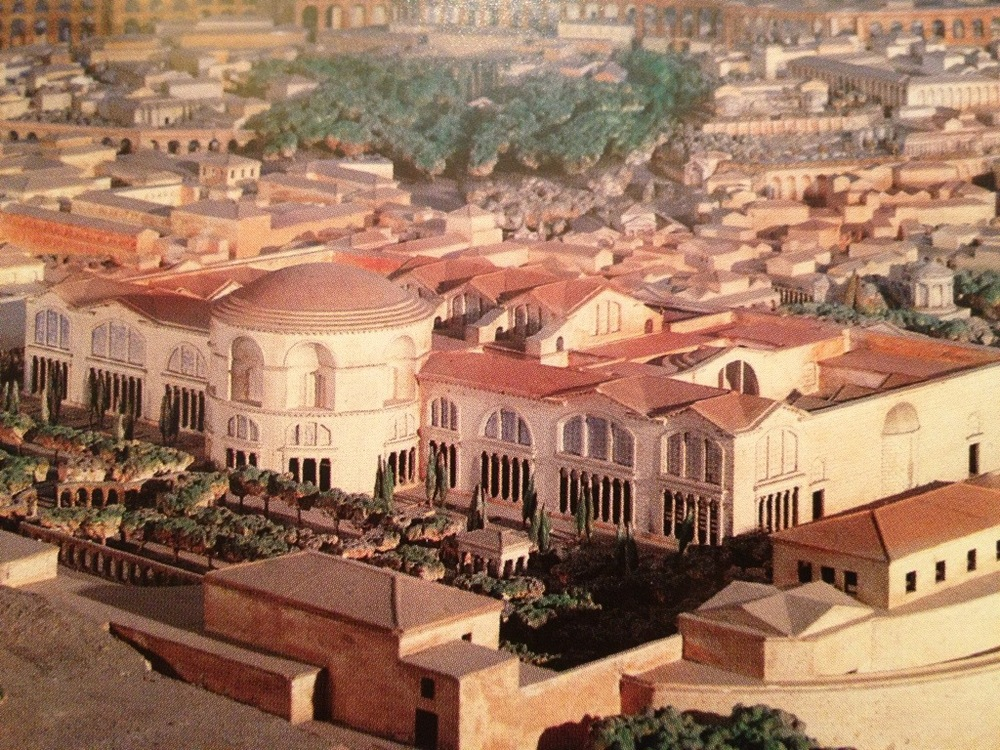 Baths of Caracalla model (Rome, 212-216 CE), showing large, southwest-facing window glass. From http://blog.tostevin.net/wp-content/uploads/2013/09/20130911-224017.jpg