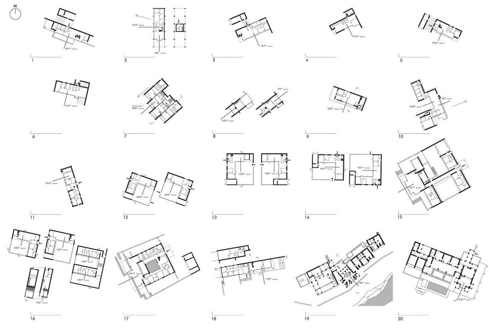 Orientation of 20 houses by Utzon. From the article linked above.  Drawings by the author.